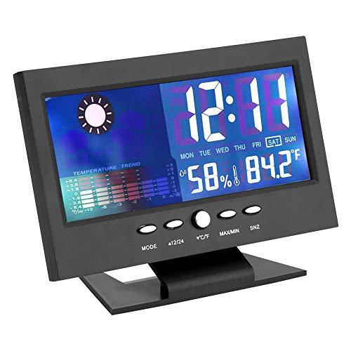 TMISHION draagbare wandklok, LCD-display, vochtigheid, tijdvertraging van de temperatuur met houder, met gaten, comfortabele wekker, geschikt voor badkamer, douche, keuken