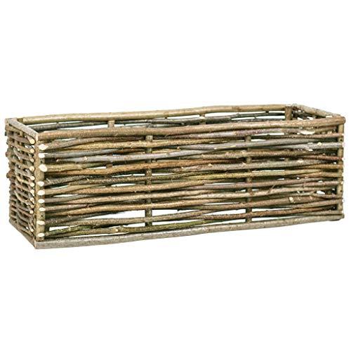 yorten Pflanzkübel Pflanzkasten Hochkübel Holz-Pflanzkübel Pflanzgefäß Haselnussholz 120 x 40 x 40 cm für Garten, Balkon oder Terrasse (ohne Boden)