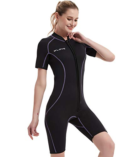 IFLOVE 3mm Combinaison Plongée pour Femme Manches Shorty Néoprène Monopiece Wetsuit Surf Snorkeling Natation L