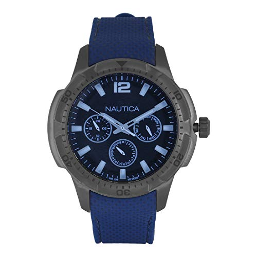 Nautica Herren Datum klassisch Quarz Uhr mit Silikon Armband NAPSDG004