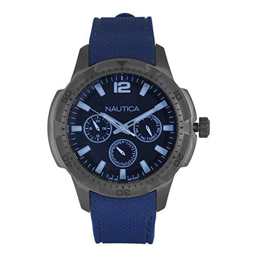 Nautica Herren Analog Quarz Uhr mit Silikon Armband NAPSDG004