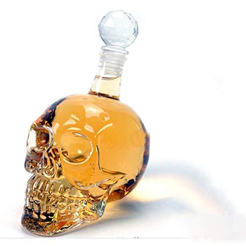 Creatividad Vasos de chupito de calavera,Decantador de vino de copa de calavera Vaso de chupito de calavera gótica Pirata Diseño de calavera de cristal de Halloween Botellas de vidrio grandes