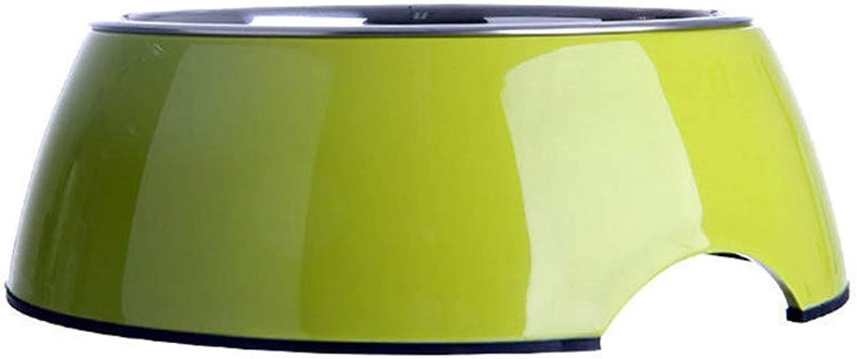 FOREVERYOU Dog Bowl Dog Basin Stainless Steel cat Food Bowl pet Dog Single Bowl Rice Basin Dog Food Basin Green