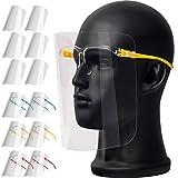 Transparente Schutzvisier Passen für Erwachsene und Kinder, Face_Shield_Gesichtsschutz kann Gereinigt, Austauschbar und Wiederverwendbar(mit 12 Visier+6 Brillengestellen)
