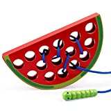 Coogam Wooden Lacing Watermelon Threading Toys Wood Block Puzzle Travel Game Early Learning Fine Motor Skills Montessori Educational Gift for Kids
