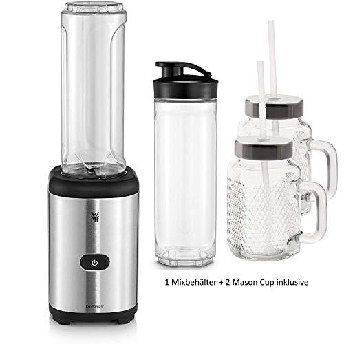 WMF Kult X Mix & Go Mini Smoothie Maker mit 1 Mixbehälter + 2 Mason Cup, Shake Mixer, Blender elektrisch, 300 Watt, Kunststoff-Flasche 600ml, BPA-frei, edelstahl matt