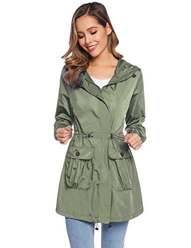Aibrou Gabardina ligera resistente al agua para mujer con capucha y bolsillos, Verde ejército, S