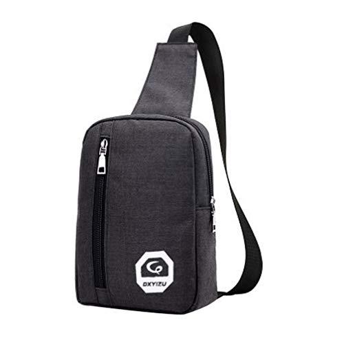 HCFKJ👜 Tasche, Tragbarer Kopfhörerstecker Casual Sport Rucksack Crossbody Umhängetasche Brusttasche (One Size, Black)