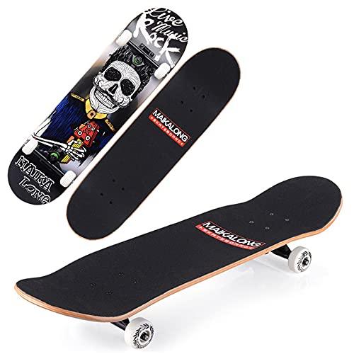 VOMI Skateboard Adulto, Patineta Tabla Doble Patada 79 x 20 cm Completa Longboards 7 Capas Monopatín de Arce Madera con Rodamientos ABEC-9 para Principiantes Niñas Niños Adolescentes