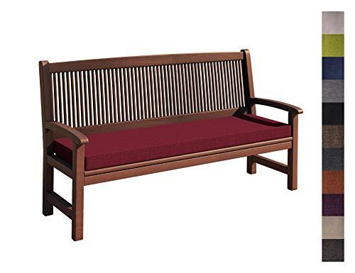 sunnypillow Coussin pour Banc de Jardin 200 x 30 x 5 cm plusieures Tailles et Couleurs à Choisir Assise Confortable pour Banc de terrasse/Balcon/Banquette/Galette de Chaise Rouge