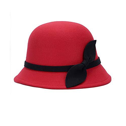 JulySeeYouz Vintage Bowler Bucket Hat, Vintage Frauen Faux-Wollfilz Wannen-Hüte Cloche Bowler Kappe mit Bowknot Lady Bucket-Winter-warme Mütze,Rot