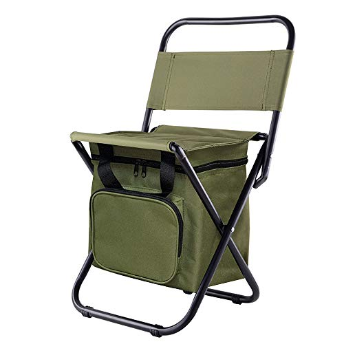 Kingmodern Portable Lightweight Backpack Chair Outdoor Small Camping Folding Waterproof Oxford Fabric Backrest Chair Hold up13L Cooler Bags Suitable for Fishing,Hiking,Picnic,Travel BBQ (ArmyGreen)