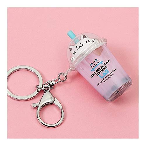 HaIfeng Schlüsselanhänger Katzenmilch Tee Keychain Perlen Katzenmilch-Abdeckung Auto Keychain (Color : Color2)