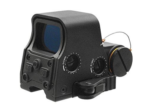 BEGADI Compact Holo Sight, rot/grün beleuchtet, mit QD Weavermontage, Biohazard Absehen, schwarz