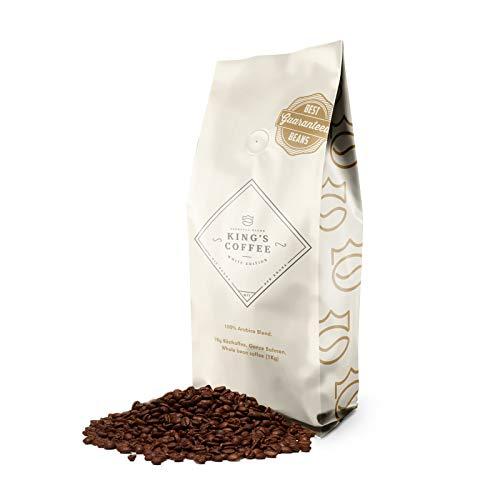 KING'S COFFEE – WHITE EDITION   1kg   Milde 100% Arabica Selektion   kleine Chargen-Röstung aus Italien   ganze Espresso-Bohnen für Vollautomaten & Filter