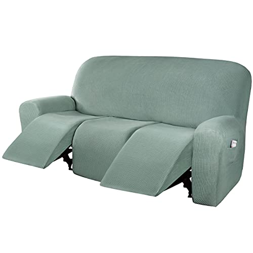 H.VERSAILTEX Super Stretch Recliner Sofa Covers Reclining Couch Covers Recliner Sofa Slipcovers 3 Seater Furniture Covers Thick Soft Jacquard Fabric Form Fitting and Easy Put On, Sage