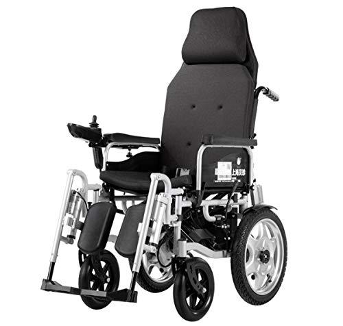 BYCDD Potencia Silla de Ruedas, Ajustan Respaldo Heavy Duty para sillas de Ruedas Plegable Eléctrica Power Chair para una fácil Transferencia,Black