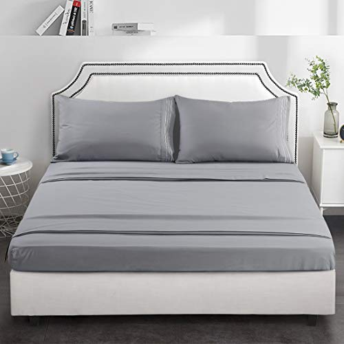 TEKAMON Premium 4 Piece Bed Sheet Set 1800TC Bedding 100% Microfiber Polyester - Super Soft, Warm, Breathable,Cooling,Wrinkle and Fade Resistant - 10-16' Extra Deep Pockets, Full, Grey