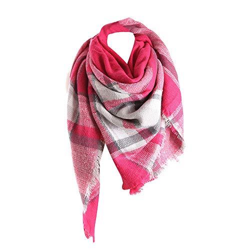 UJUNAOR Unisex Halstücher Winter Dual-use Langen Schal Britischen Plaid Nachahmung Kaschmir Großes Quadrat(Hot Pink,One size)