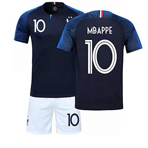 Camiseta de Fútbol, Camiseta de Recuerdo para Aficionados al Fútbol, Camiseta Fútbol para Adultos y Niños #10 MBAPPE Conjunto de Camiseta de Jersey para Aficionados y Amantes del Fútbol