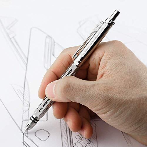 Titaner CNC Machining Titanium Mechanical Pencil Metal EDC Pen 0.5mm with Clip (Silver)