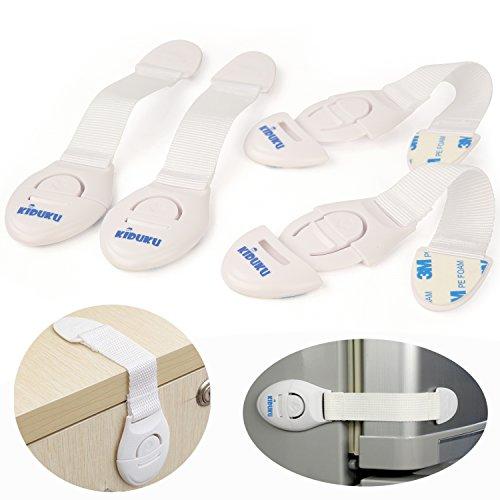 KIDUKU® Juego de 6 seguros para bloquear y cerrar cajones   armarios   puertas   tapas de WC   para niños y bebés   No se atornilla, reutilizable