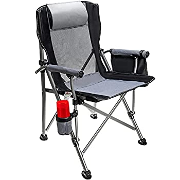 Outdoor Camping Chair Folding Camp Chair Padded Comfort Arm Chair with Large Cup Holders Side Organizer for Outdoor Indoor Camp Patio Fishing Supports 330lbs