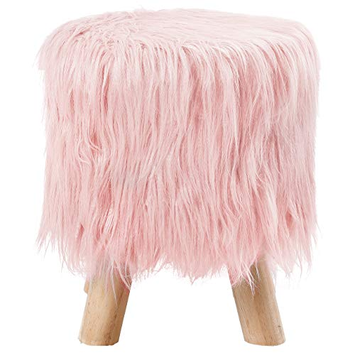 BirdRock Home Pink Faux Fur Foot Stool Ottoman – Soft Compact Padded Seat - Living Room, Bedroom and Kids Room Chair – Natural Wood Legs Upholstered Decorative Furniture Rest – Vanity Seat