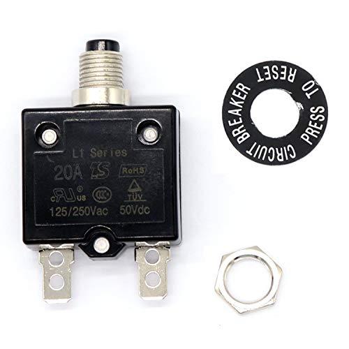 FairytaleMM Ripristino manuale Interruttore di protezione da sovraccarico Protettore montato su pannello standard per resettare 5-30 AMPS con vite per anello con targhetta-20A (20A)