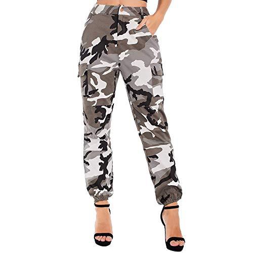 Luiyy Damen Stretch Hosen Camouflage Jogginghose Sporthose Workwear Uniform Combat Cargo Relaxed-fit Multi Taschen Freizeithose Military Sicherheitshose Mit Gürtel 2020 (Grau,2XL)