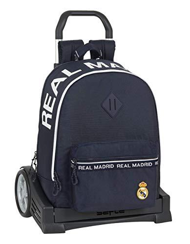 safta 612034860 Mochila con carro ruedas Evolution, Trolley Real Madrid CF