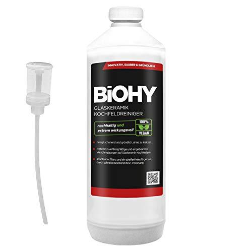 BIOHY keramische kookreiniger, 1 liter, fles + doseerder voor stralend schone kookplaten, geschikt voor alle apparaten, Bosch & Siemens - geeft streepvrije glans
