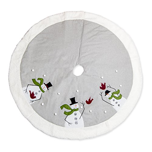 Seasons Designs 56 inch Snowman Green Scarf and Red Cardinal on Grey Embroidered Christmas Tree Skirt