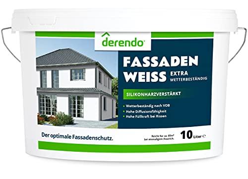 Derendo silikonharzverstärkte Fassadenfarbe weiß mit EXTRA Wetterschutz, 10l, Fassaden Farbe mit hoher Deckkraft und guter Füllkraft bei kleinen Rissen, weiss matt