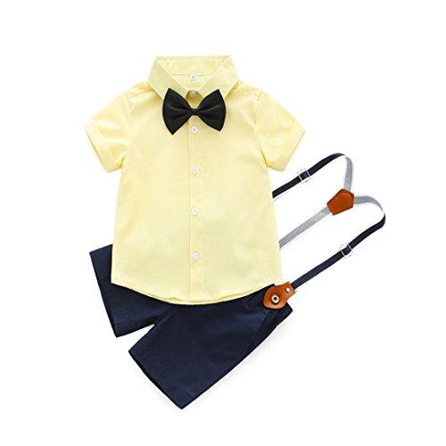 PAOLIAN Conjuntos para Bebe niños Camisas y Pichi Verano 2018 Ropa para recién Nacidos niños Boda Monos Traje Fiestas Pajarita Bautizo Bodies de 6 Meses 12 Meses 24 Meses 3 años (12M, Amarillo)