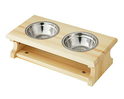 猫用 食器スタンド 木製 ボウル付き 選べるサイズ S M ペット用 猫 ねこ 食器台 餌台 餌入れ 餌皿 フードボウル 天然木 おしゃれ (M)