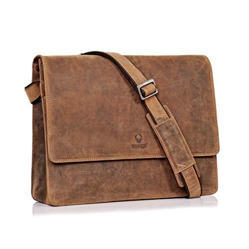 DONBOLSO Barcelona Messenger Bag Leder I Umhängetasche für Laptop I Aktentasche für Notebook I Tasche für Damen und Herren (Braun)