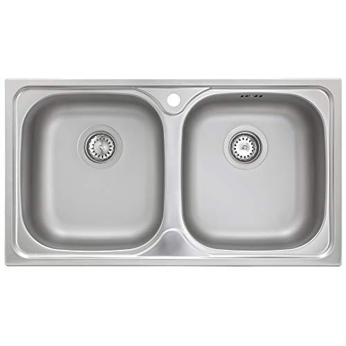 Küchenspüle 2 Becken Spüle Edelstahl ED 7843 Doppelbecken (mit Hahnloch)