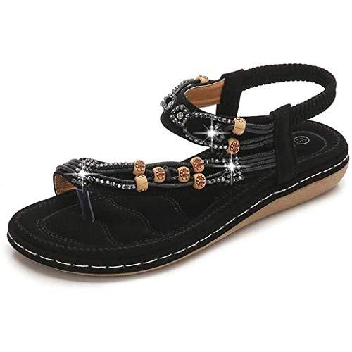QLIGHA Women Sandals Summer Ladies Slip on Post Thong Shoes Walking Sandals Casual Peep Toe Low Wedge Heel Anti Slip Slippers Outdoor Rhinestone Slingback Beach Sandals,Black,42