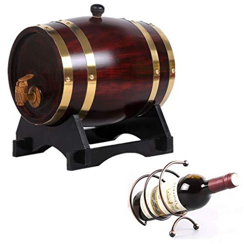 GYPPG Barril Vino Barril Madera Decorado Barril Whisky 20L Dispensador Cubo Whisky Madera Hecho a Mano con Rejilla para Vino Adecuado para almacenar licores Ron Vino