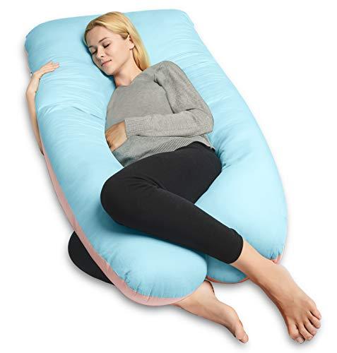 QUEEN ROSE Cuscino a Forma di U, Ideale per Gravidanza e maternità con Fodera Rimovibile e Lavabile (140 x 78 cm, Cotone, Blu e Rosa)