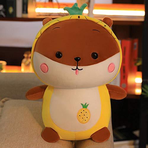 Pluche Leuke Hooded Squirrel Rag Doll Zacht Fruit Knuffel Kussen-Ananas Squirrel_40cm