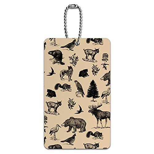 Etiqueta de identificación de equipaje con diseño de animales del bosque