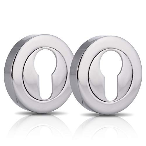 XFORT 2 Pack Euro Escutcheons Polished Chrome, Escutcheon Keyhole Cover, Euro Door Lock Cover for Security and Protection from Key Damage, Durable Escutcheon Plate with Concealed Screws.
