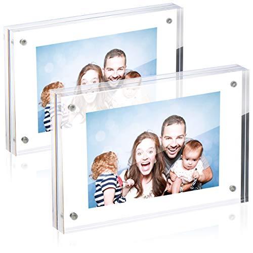 Robin Goods® 2X Magnetischer Acryl-Fotorahmen - Doppelseitiger Display-Block - Klar Transparent - 2 cm Dicke - Beidseitiger sichtbarer Bilderrahmen - Rahmenloser Bilderhalter (transparent - 13x18cm)