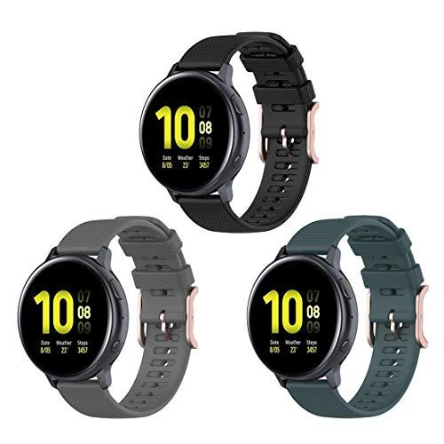 Bexido [Pack de 3 correas de repuesto de silicona de 20 mm compatibles con Huawei Watch GT2 42 mm/Honor Magic Watch 2 42 mm/Garmin Venu Sq/Amazfit GTR 42 mm/Amazfit GTS/Amazfit Bip/Bip S/Bip Lite