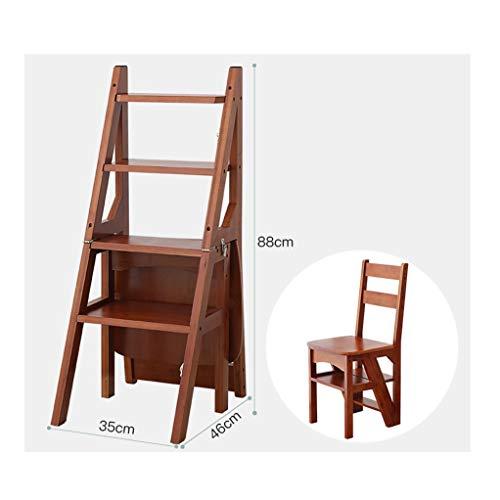 GSS-Chair Inklapbare trapladder, hout, opvouwbaar, voor thuis of op kantoor, met 4 treden