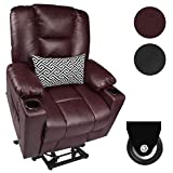 Maxxprime PU Leather Free Moving Electric Power Lift Recliner Chair Sofa with Massage & Heating for Elderly, Comfortable Design, 3 Positions, 2 Side Pockets & Cup Holders, USB Ports (Saddle)