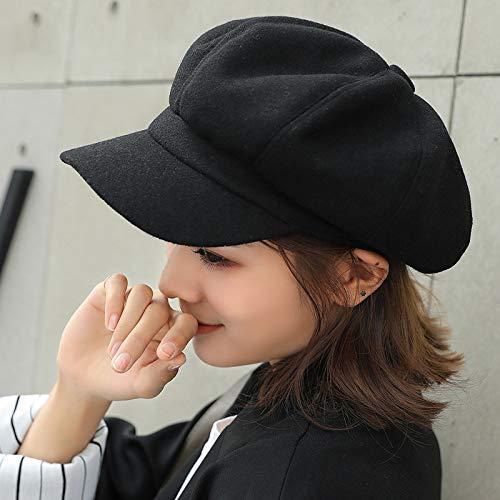 wopiaol Sombrero Sombrero Octogonal de Lana de Color sólido Mujer otoño e Invierno Boina cálida Engrosada Sombrero de Pintor Retro