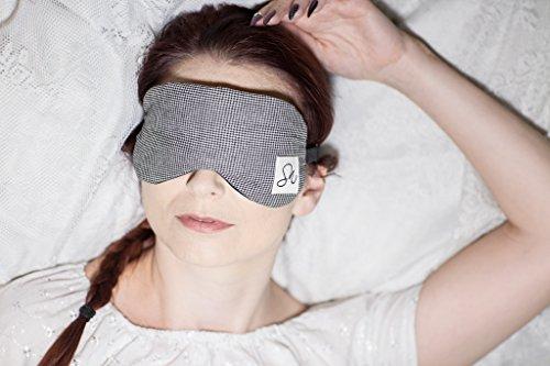 Schlafmaske/Augenmaske mit Gel für kalte und heiße Therapie–Block Das Licht–Die Spa Notizen Kühlung Schlafmaske für Damen & Herren–verstellbarer Riemen, leicht, weich, Schlafmaske Druck TC Stoff